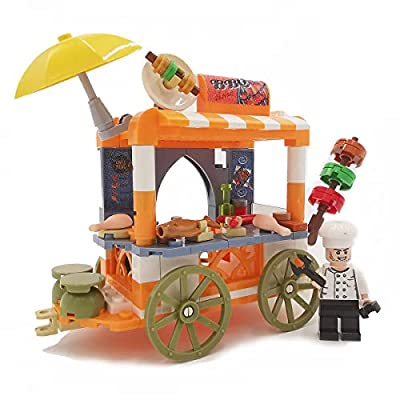 Soniubia City Scape Building Sets Toys Mobile Selling Vehicle(Barbecue Car): Toys & Games