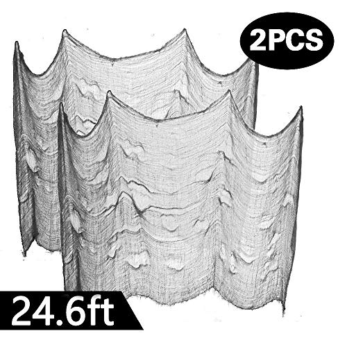Powerful 2PCS Super Size in Halloween Creepy Gray Black Purple White Cloth for Houese and Outdoor Party Supplies & Decorations (2 X 8.2 yd(25ft) X 80 in, Gray)]()