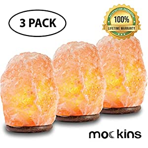mockins 3 Pack Natural Hand Carved Himalayan Salt Lamp with Beautiful Wood Base 6″-8″ tall- Includes Light Bulb and On and Off Switch   Great Room Decor and Night Light