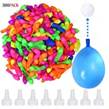 300 Pack Water Balloons Bomb Self-Sealing Latex Water Balloons Bomb with 8 Hose Nozzle for Kids Adults Outdoor Water Bomb Fight Games (Water Balloon self-Styled)