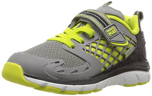 Stride Rite Kids' Made 2 Play Breccen Sneaker, Grey/Lime, 9.5 Medium US Toddler