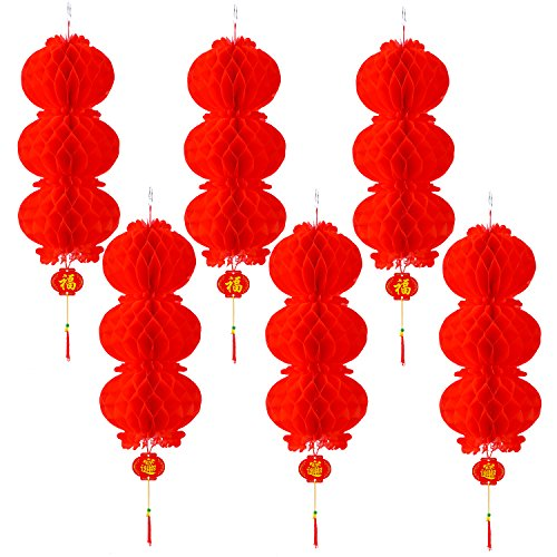 Resinta 6 Pack Red Paper Lanterns Chinese New Year Hanging Lanterns for Chinese Festival Celebration Decoration or Party Supplies (3 Vertical Linear Array Lanterns)