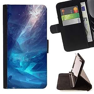 GIFT CHOICE / Billetera de cuero Estuche protector Cáscara Funda Caja de la carpeta Cubierta Caso / Wallet Case for Apple Iphone 4 / 4S // Blue Sea Digital Art //