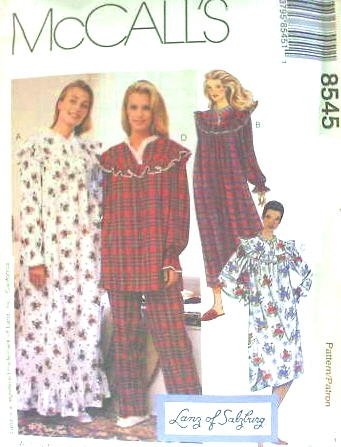 MCCALL s Sewing Pattern 8545 Misses Nightgown, Nighshirt ...