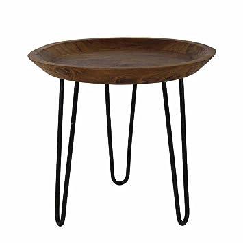 Pharao24 Runder Beistelltisch aus Akazie Massivholz 45 cm Möbel & Wohnaccessoires Arbeitszimmer