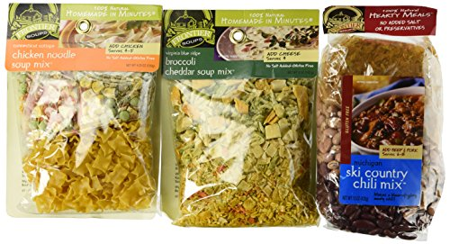 (Frontier Soups 100% Natural Homemade In Minutes Gluten-Free Soup Mix 3 Flavor Variety Bundle: (1) Michigan Ski Country Chili Mix, (1) Virginia Blue Ridge Cheddar Broccoli Soup Mix, and (1) Connecticut Cottage Chicken Noodle Soup Mix, 4.5-15 Oz. Ea.)