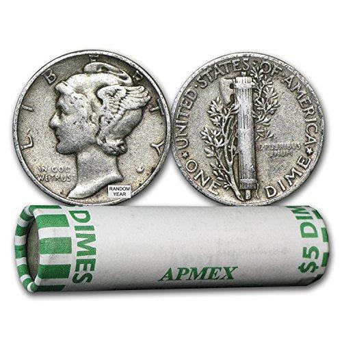 Buy Silver Coins (1916 - 1945 90% Silver Mercury Dime 50-Coin Roll Avg Circ Dime Very Good)