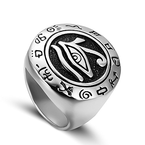 JAJAFOOK Mens Silver Stainless Steel Egypt Eye of Horus Symbol of Protection Ring Round Signet Jewelry
