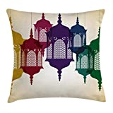 Ambesonne Lantern Throw Pillow Cushion Cover, Antique Style Colorful Arabian Lantern Hang on Sky Traditional Design, Decorative Square Accent Pillow Case, 20 X 20 inches, Purple Red Yellow Green