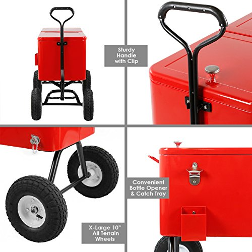 Clevr 80 Qt Party Wagon Cooler Rolling Cooler Ice Chest, Red, with Long Handle and 10'' All Terrain Wheels, Portable Patio Party Bar Cold Drink Beverage Chest, Outdoor Cooler Cart on Wheels by Clevr (Image #4)