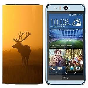 EJOOY---Cubierta de la caja de protección para la piel dura ** HTC Desire Eye M910x ** --Mañana Naturaleza ciervos de los alces puesta del sol salida del sol