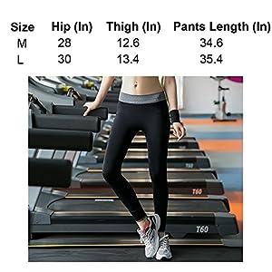 Hasanick Women Running Leggings Sports Workout Yoga Pants Black Size L