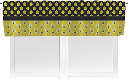 RNK Shops Honeycomb, Bees & Polka Dots Valance - Unlined (Personalized) (Circle Valance Dot)