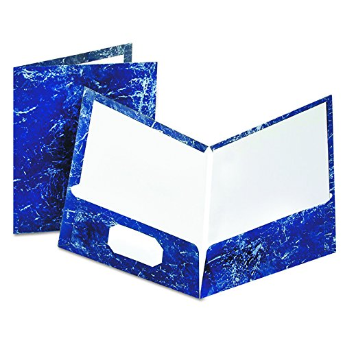 Oxford 51643 Marble Design Laminated Two-Pocket Portfolios, Navy, 25 per Box - Oxford Two Pocket