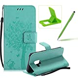 Strap Leather Case for Samsung Galaxy A8 2018,Bookstyle Magnetic [Green Solid Color] Stand Flip Case for Samsung Galaxy A8 2018,Herzzer Premium Elegant Butterfly Tree Cat Print Fold Wallet Folio Smart Case For Samsung Galaxy A8 2018 + 1 x Green Cellphone Kickstand + 1 x Green Stylus Pen