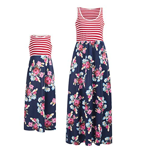 Mommy and Me Dresses Casual Floral Family Outfits Summer Matching Maxi Dress (3T, Red) ()