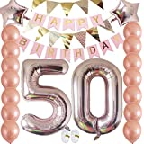 Cheeringup Rose Gold Funny Happy 50th Birthday Decorations Kit|Number 50 Balloons Set for Women and Her 50 Years Old Birthday Party Supplies,Anniversary as Gift for Photo Booth Props-Giant 40inch