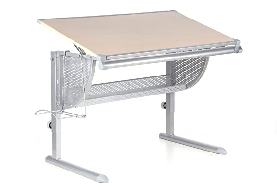 Altezza Banco Di Lavoro Ergonomia : Hjh office 705010 scrivania per bambini nenos faggio argento