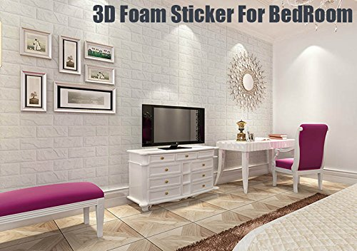 3D Wall Panels Stickers White Brick For Living Room Bedroom Kids Children's Room, Self Adhesive Peel&Stick Faux Foam Bricks Wallpaper 8 PACK by POPPAP (Image #6)