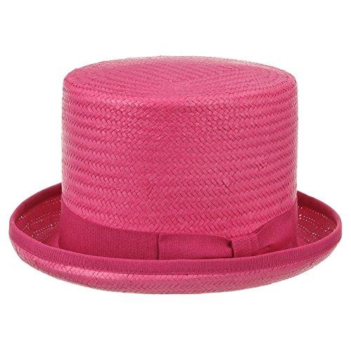 Haut de Forme Rom en Paille chapeaux de paille chapeau pour homme (59 cm - fuchsia)
