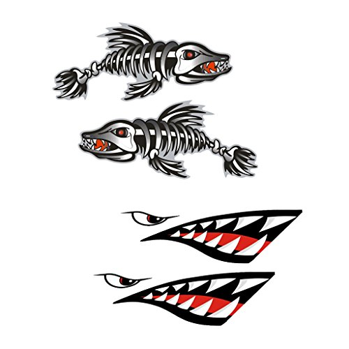 MonkeyJack 4 Pieces Durable Vinly Skeleton Fish Bones with Shark Teeth Mouth Kayak Decals Car Motorcycle Wall Window Canoe Dinghy Tackle Box Fishing Boat Stickers Graphics Accessories ()