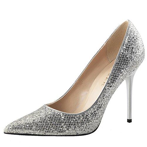 Heels-Perfect - Pantuflas de caña alta Mujer plateado (plateado)