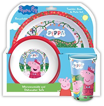 OFFICIAL PEPPA PIG 3 PIECE DINING SET!! Complete with Plate, Bowl & Tumber/Beaker. (Peppa's Set Christmas)