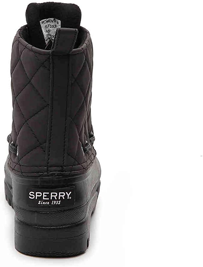 Sperry Women/'s Gosling Quilted Waterproof Duck Boots Black Brand New