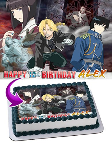 Fullmetal Alchemist Edible Image Cake Topper Personalized Icing Sugar Paper A4 Sheet Edible Frosting Photo Cake 1/4 ~ Best Quality Edible Image for cake by EdibleInkArt (Image #4)