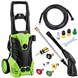 1800W 3000PSI 1.7GPM Electric High Pressure Washer Machine with 5 Quick-Connect Spray Tips & Power Hose Nozzle Gun for Car/SUV/Garden Washer for Homes, Cars, Driveways (US STOCK, Green) (Green)