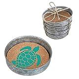 Occasionally Made 4'' x 4'' x 1'' Sea Turtle Mason Jar Lid Coaster Stack