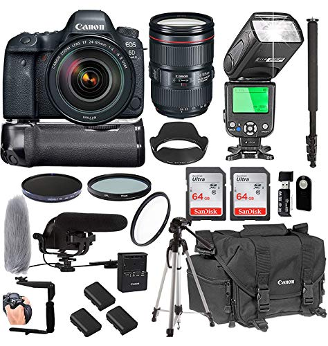 Canon EOS 6D Mark II with 24-105mm f/4 L is II USM Lens + 128GB Memory + Canon Deluxe Camera Bag + Pro Battery Bundle + Power Grip + Microphone + TTL Speed Light + Pro Filters,(23pc Bundle)