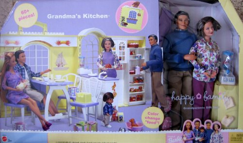 Barbie Happy Family GRANDMA'S KITCHEN & Grandparents Gift Set - 60+ Pieces (2003) by Happy Family