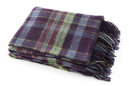 Biddy Murphy Plaid Wool Blanket Throw 100% Wool Soft 54