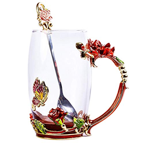 Floral Glass Coffee Mug Tea Cup with Spoon Gift Box Birthday Valentines Day Gift (RED ROSE HIGH) ()