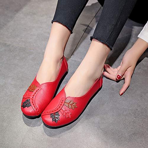Parti Roses Fond Chaussures Mode Alikeey Chataignes Plat Moutarde Ronde Bateau Casual Tte Argent Pea Fminine Flat Rouge Noire Dentelle Feuilles Dcontracte T1gpwUxq