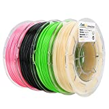 AMOLEN 3D Printer Filament Set, 1.75mm, PLA Silk Pink(225G), PLA UV Color Change to Hot Pink(200G), PETG Green(225G), TPU Black(225G), Includes Sample Real Gold and Green to Yellow Filament.