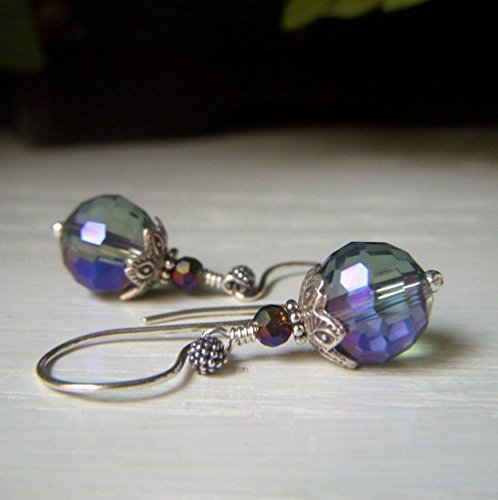 - Iridescent Glass Crystal Earrings Lavender Rainbow Finish, Slate Blue Dangle, Sterling Silver