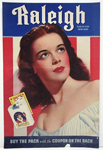 40s Cigarette - ORIGINAL RALEIGH CIGARETTE 1940s ADVERT POSTER WITH MOVIE STARLET 04
