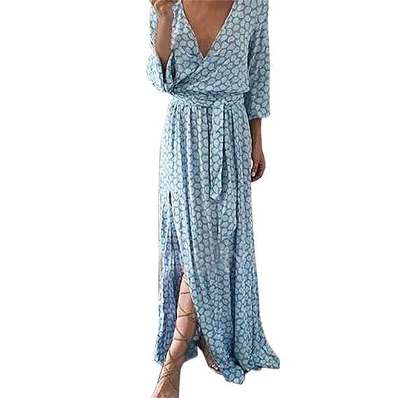 Damen Lange Kleid Maxikleider Blumenkleid Drucken Kariertes Hemd Strandkleid  Vintage V-Ausschnitt Abendkleid High Waist Elegant Side Slits Böhmischen  Casual ... 8ef71bd017
