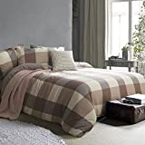 Ceruleanhome 100% Natural Washed Cotton Plaid Duvet Cover Sets Quality Guarantee Soft Hand Feeling Comfortable Zipper Close Inside Ties Machine Washable (Queen, Plaid Brown Grey-CE)