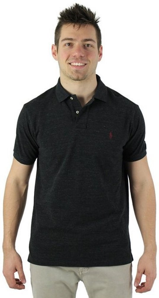 Polo Ralph Lauren Mens Classic-Fit Mesh Short sleeve Polo (X-Small, Black Heather)