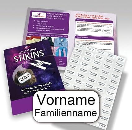 Namensstreifen f/ür Kinder neue Namensetiketten zum Aufkleben, 90 Personalisierte W/äscheetiketten Schulkleidung//Kleidung//Kleidungsetiketten STIKINS /® Label Planet/®