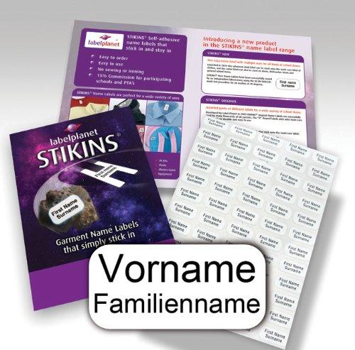 90 Personalisierte Wäscheetiketten, STIKINS® Label Planet®, Schulkleidung/Kleidung/Kleidungsetiketten, Namensstreifen für Kinder, neue Namensetiketten zum Aufkleben, KEIN AUFBÜGELN/EINNÄHEN/BESCHRIFTEN, selbstklebendes Kunststoffetikett für Schulkleidung, senden Sie uns den zu druckenden Namen