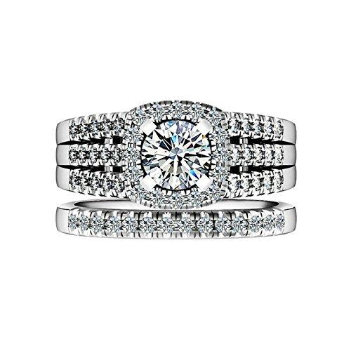 Gentlemans Titanium Diamond Set - Daesar Sterling Silver Ring for Women Engagement Rings Diamond 4-Prong Round CZ Ring Set Ring Size 10.5