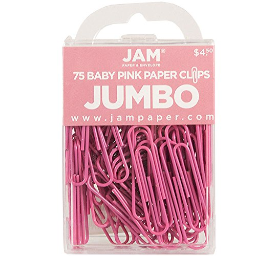 JAM Paper Colored Jumbo Paper Clips - Pink Paperclips - 75/pack