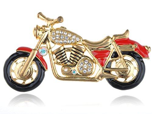 Alilang Golden Tone Red Black Harley Davidson Motorcycle Biker Brooch Pin