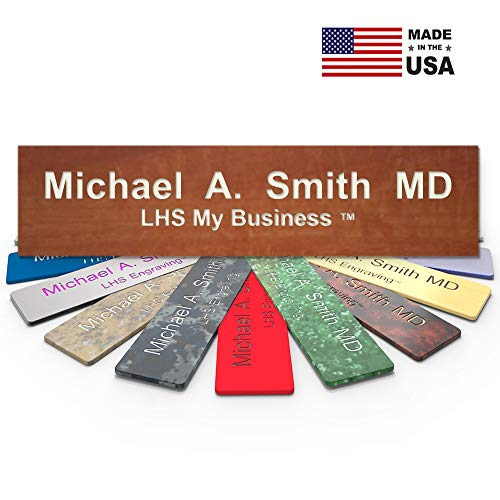 - LHS My Business | Engraved Desk Sign Name Plates Personalized Cinnamon Plastic Off White Letters | USA Office Desk Decor 2x10 - N5