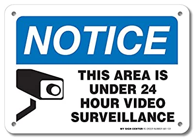 "Notice This Area is Under 24 Hour Video Surveillance Laminated Sign - Home Security Camera Signs- 10"" X 7"" - .040 Rust Free Aluminum - UV protected and Weatherproof - English and Spanish from Visual 52"