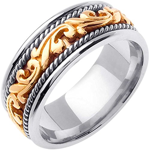 - Two Tone Platinum and 18K Yellow Gold Floral Paisley Men's Comfort Fit Wedding Band (9mm) Size-15c1